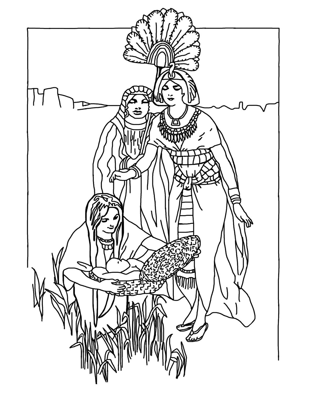 Baby Moses Found Coloring For Kids With Images