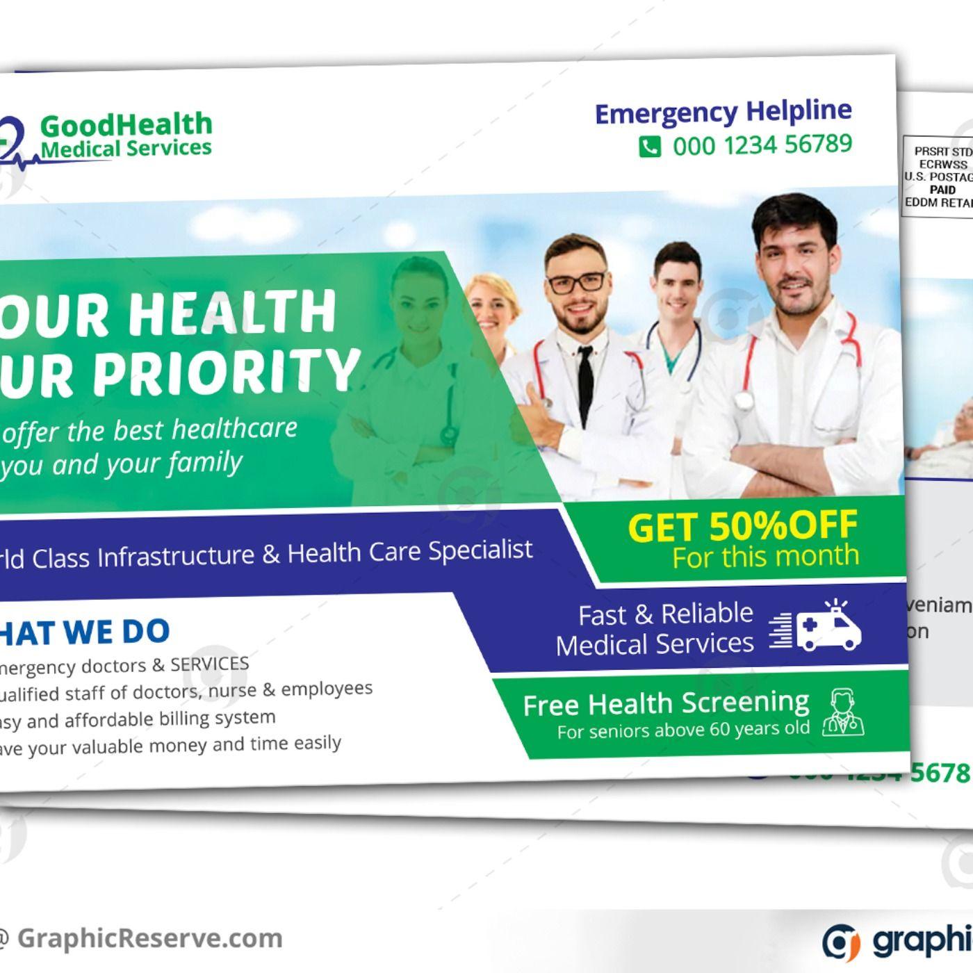 Medical Healthcare Services Eddm Postcard Health care