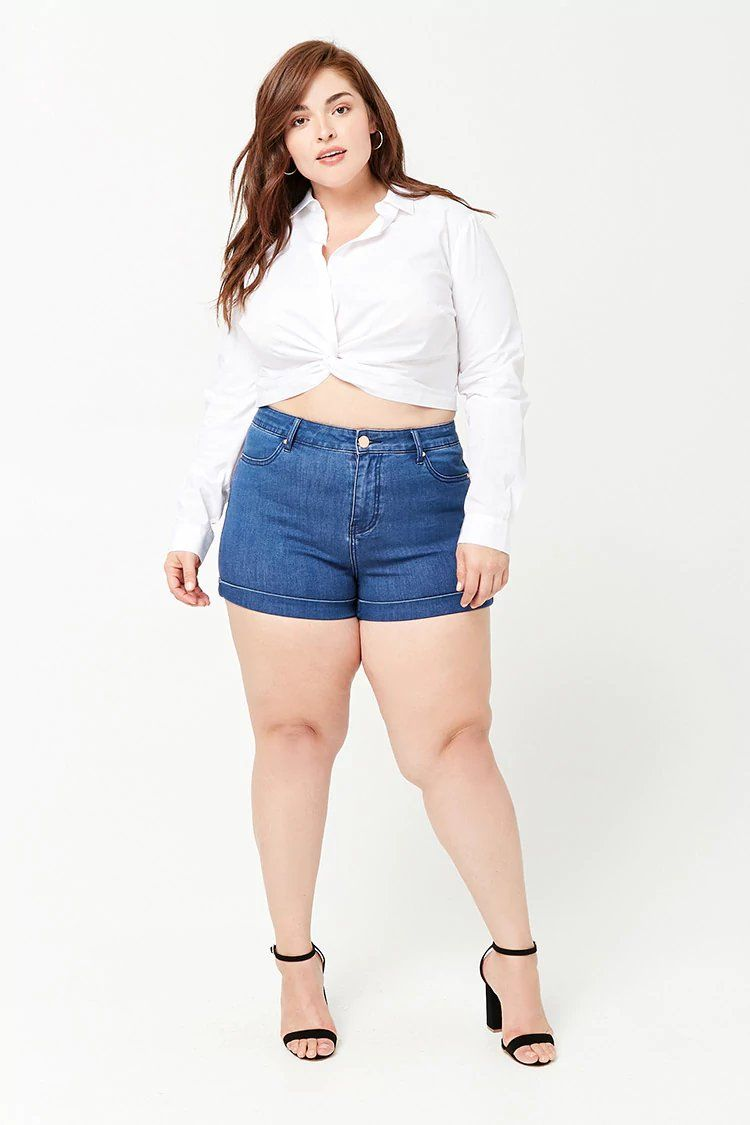 656877bcdf Product Name:Plus Size High-Rise Denim Shorts, Category:plus_size-main