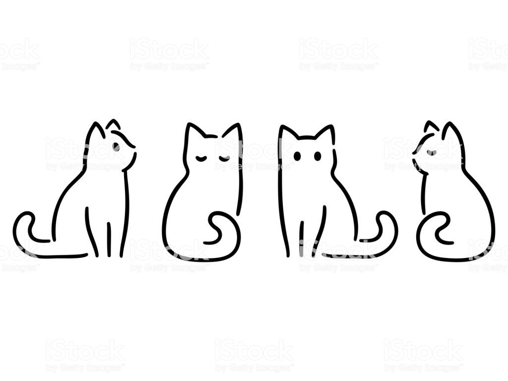 Minimalist cats drawing set. Cat doodles in abstract hand drawn…