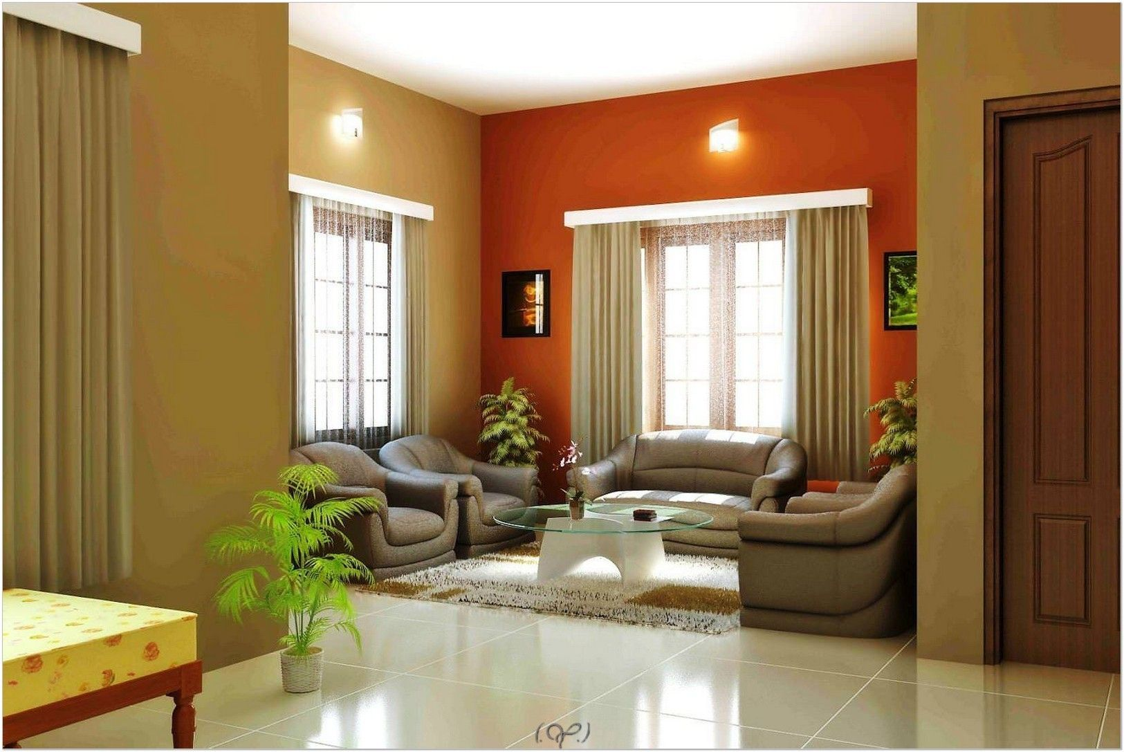 Interior Paint Color Schemes With Dual Color, Orange Wall Paint And Brown Wall  Paint Combination Matching With Installation Grey Decoratingu2026