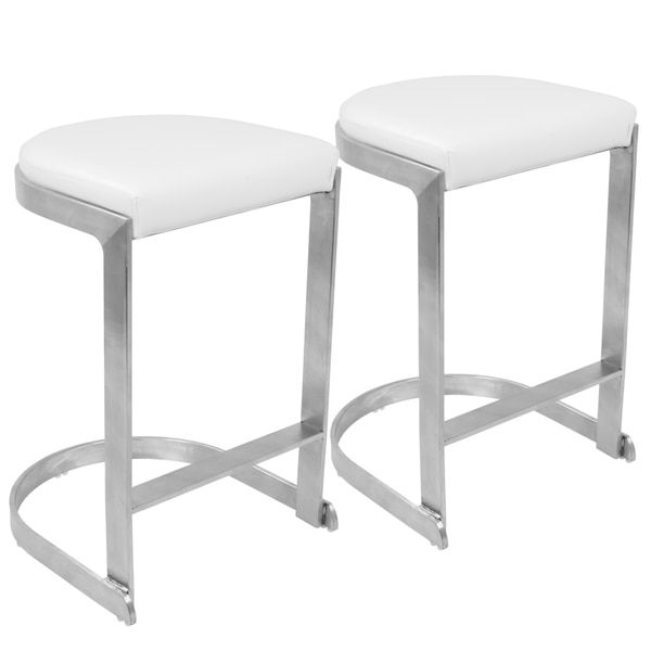 Lumisource Demi White Grey Metal Fabric Contemporary Backless Counter Stools Set Of 2 Contemporary Counter Stools Counter Stools Backless Counter Stools