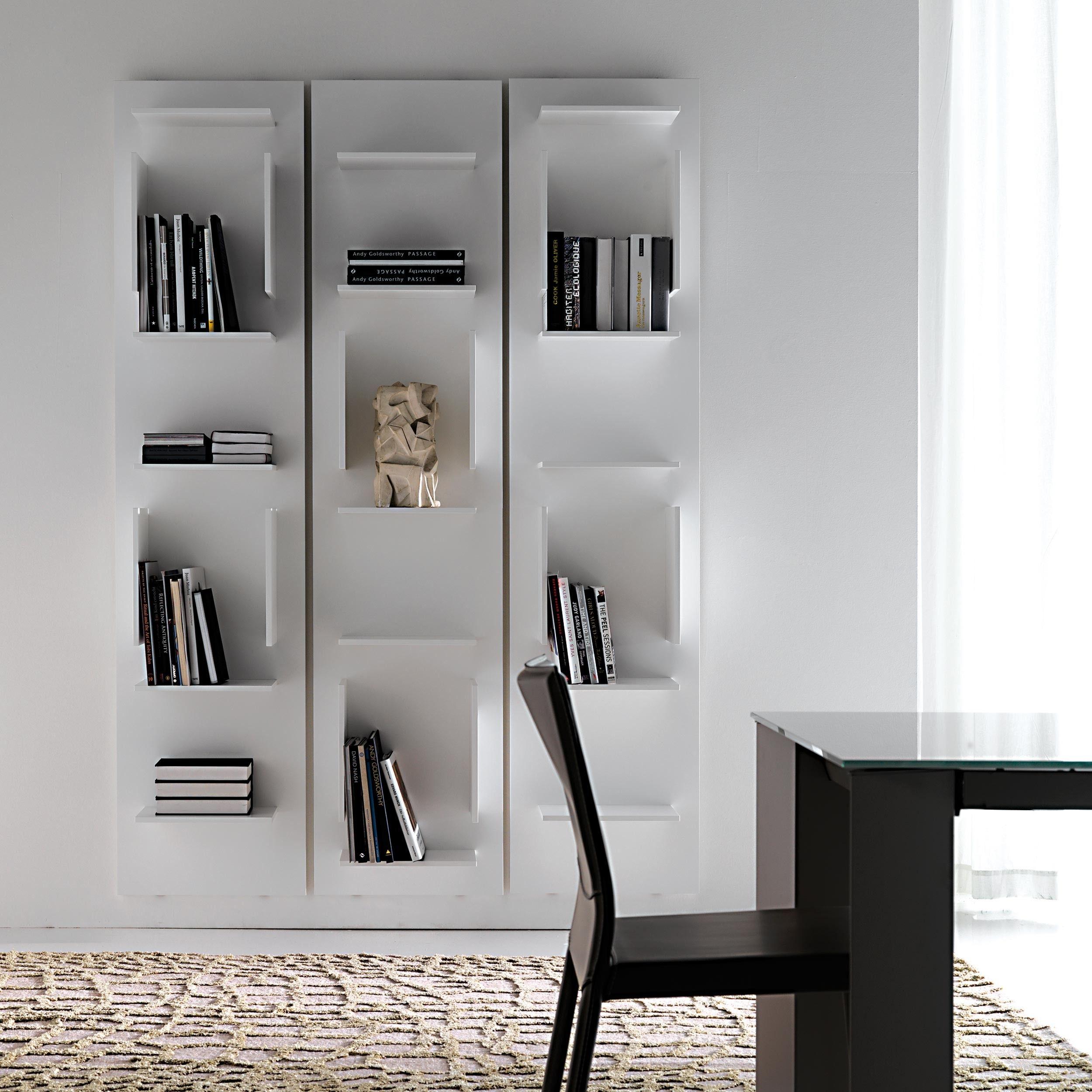 Wooden bookcase white mod fifty cattelan estanter a - Biblioteca madera blanca ...