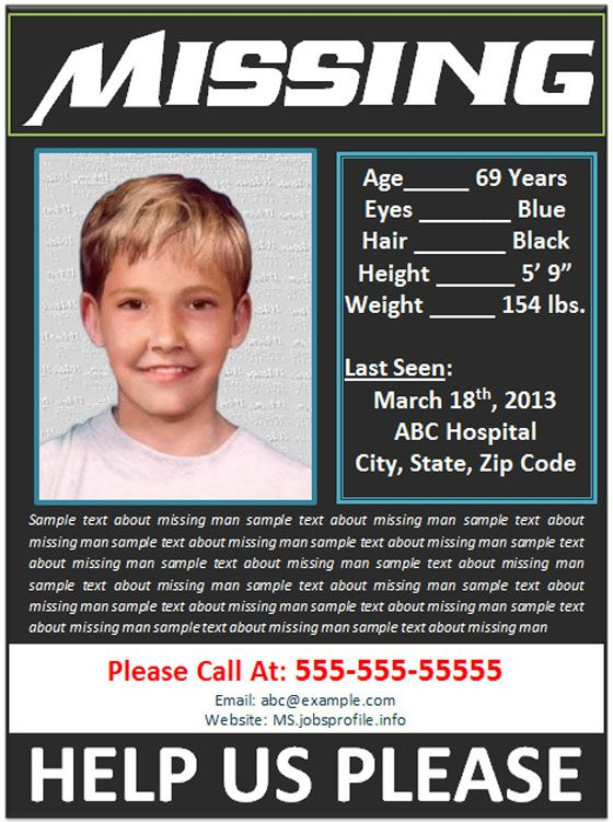 Missing Person Poster Template Blue And Red Fake Make A Generator
