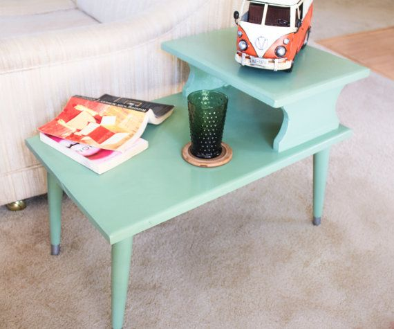 High Quality Gossip Bench Telephone Table Vintage End Table Hand Painted Green Retro  1950s Mid Century Cottage Chic