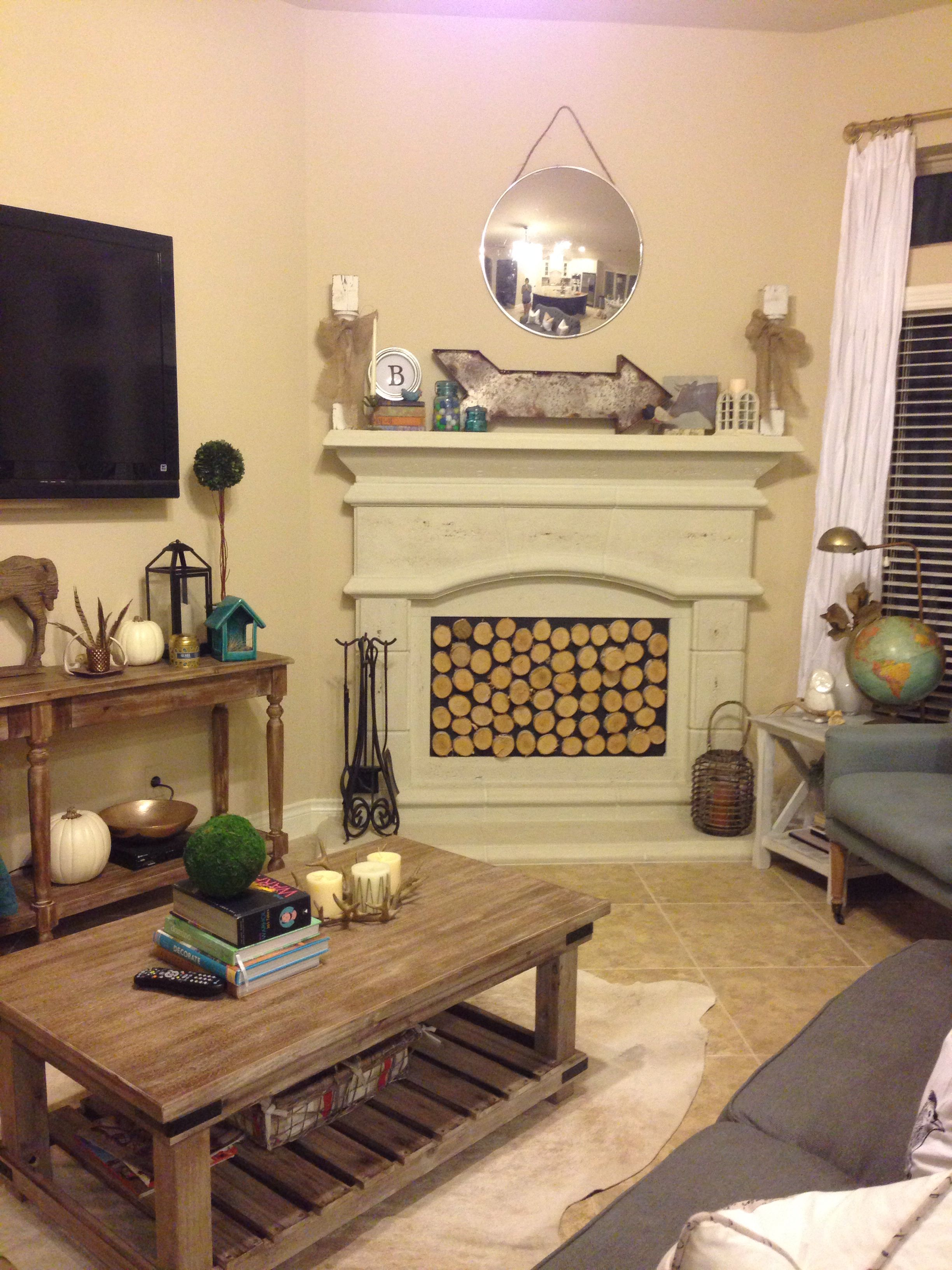 DIY sliced birch wood fireplace insert! MDF board painted with black ...