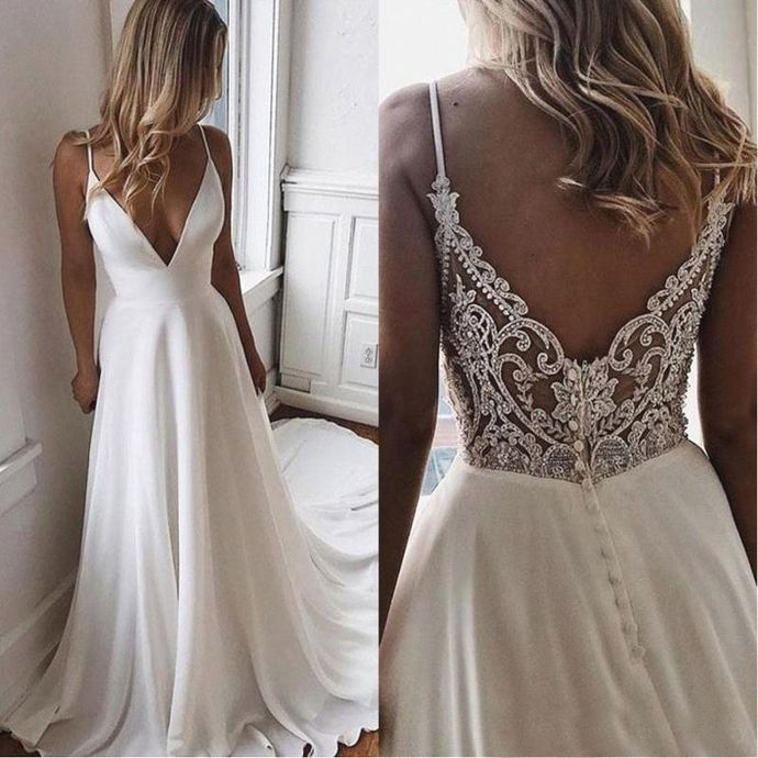 Deep V Neck Satin A Line Summer Beach Wedding Dresses Tulle Lace Applique Beaded Sweep Train Bridal