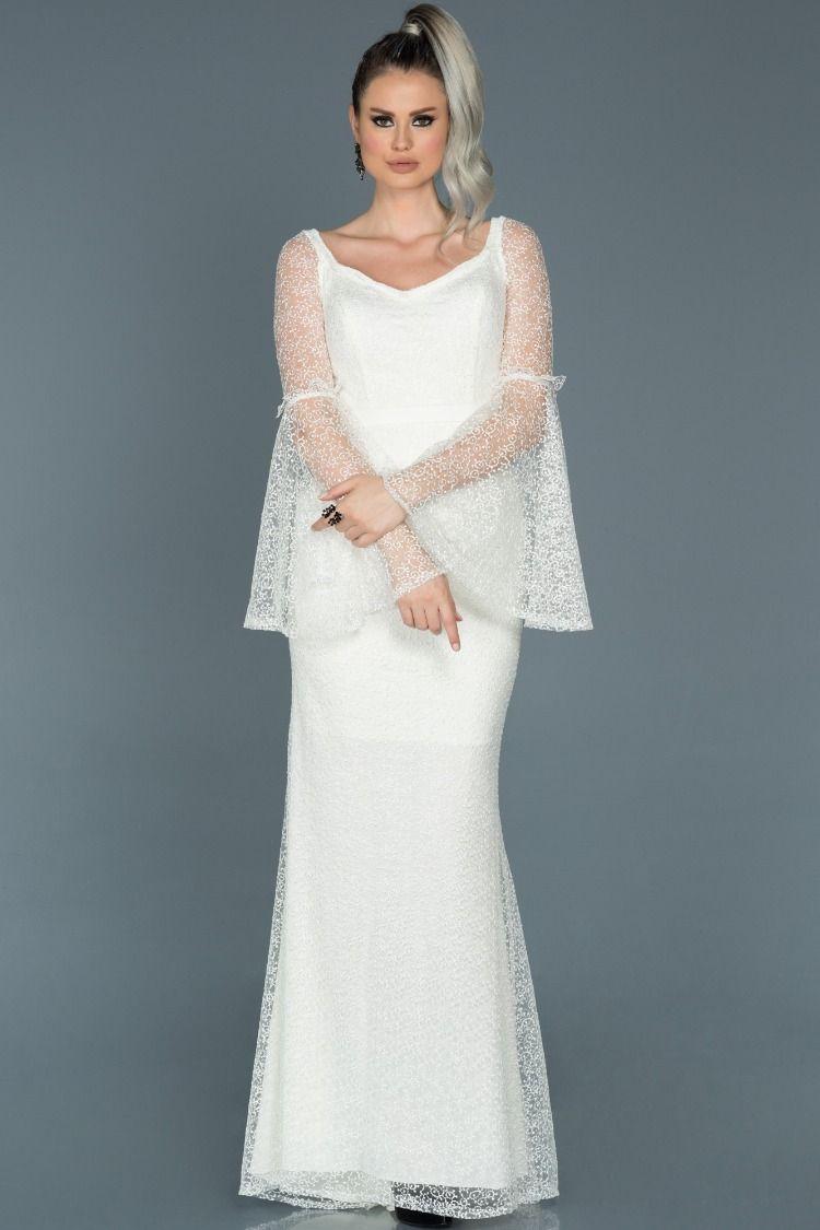 Beyaz Gupurlu Uzun Kollu Nikah Abiyesi Abu500 The Dress Gelinlik Gelin Elbisesi