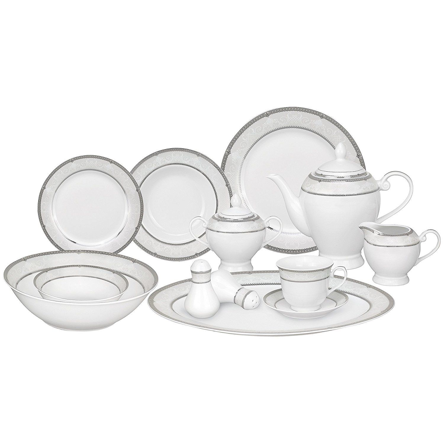 Lorren Home Trends 57-Piece Porcelain Dinnerware Set Ballo Service for 8 *  sc 1 st  Pinterest & Lorren Home Trends 57-Piece Porcelain Dinnerware Set Ballo Service ...