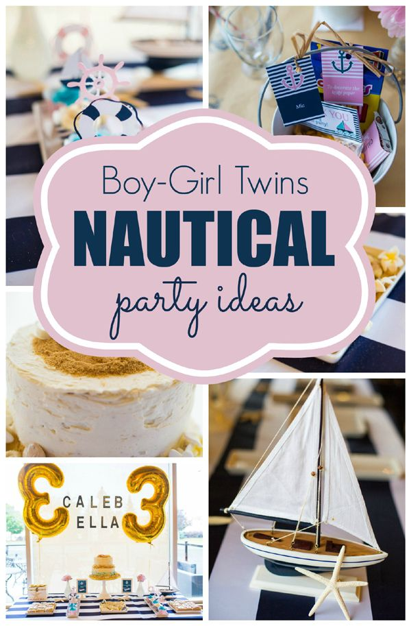 Twins Nautical Birthday Party Boy girl twins Nautical party and Twins