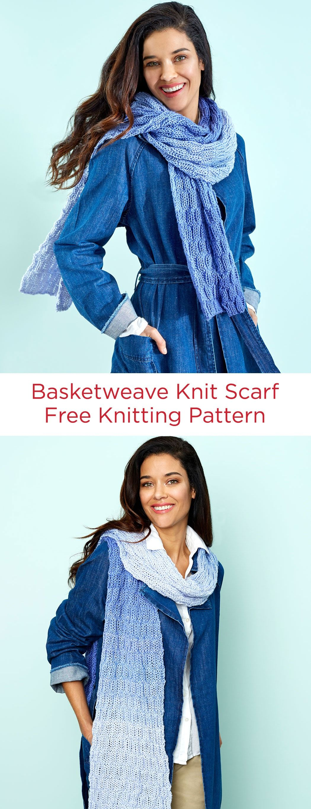 Basketweave Knit Scarf Free Knitting Pattern in Red Heart ...