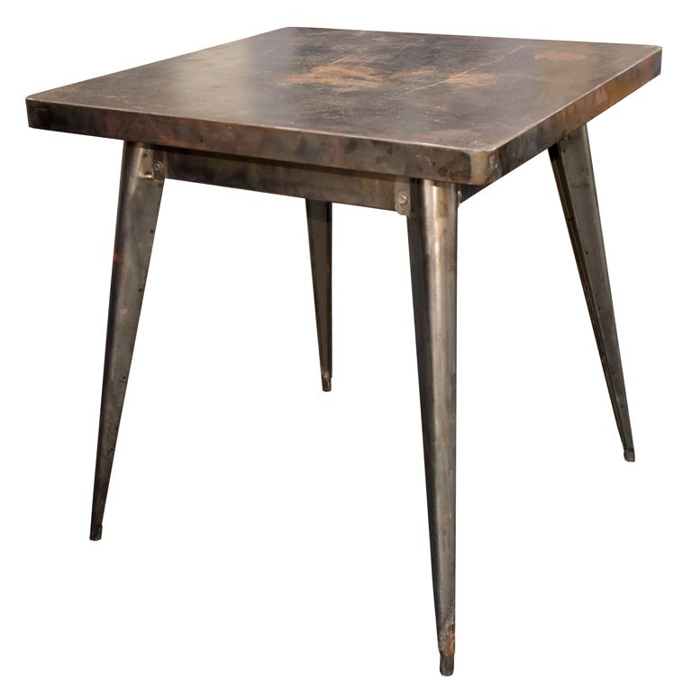 Tolix Table, Industrial French Bistro Table, c 1957