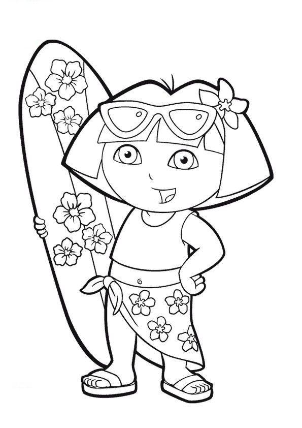dora colering pick dora beach coloring pages dora beach coloring pages