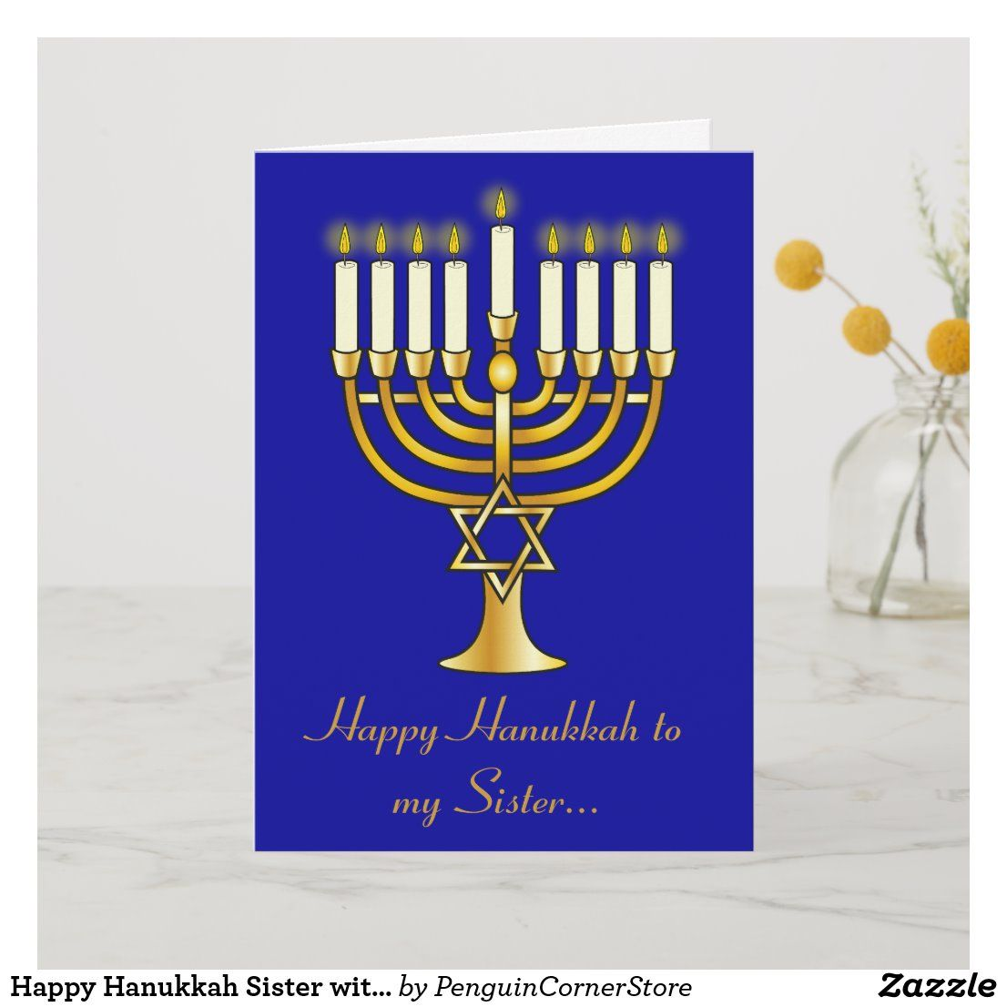 Happy Hanukkah Sister With Menorah Holiday Card