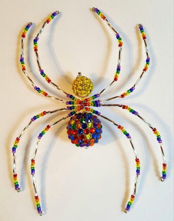 Rainbow Rhinestone Christmas Spider Ornament by MerriAmelie