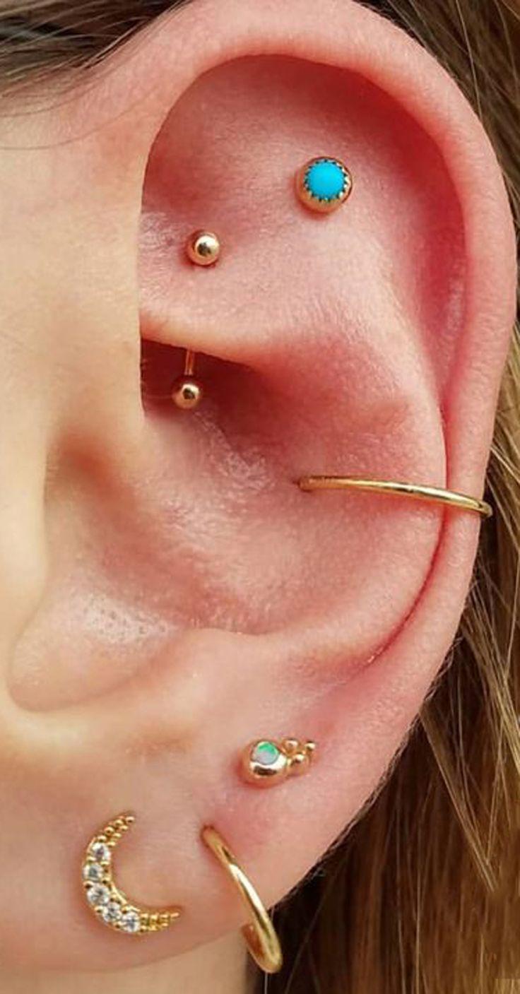 Süße Ohrpiercing-Ideen für Frauen für Teenager - Gold Rook Ohrring Schmuck - www.MyBodiArt.com #earpiercingideas