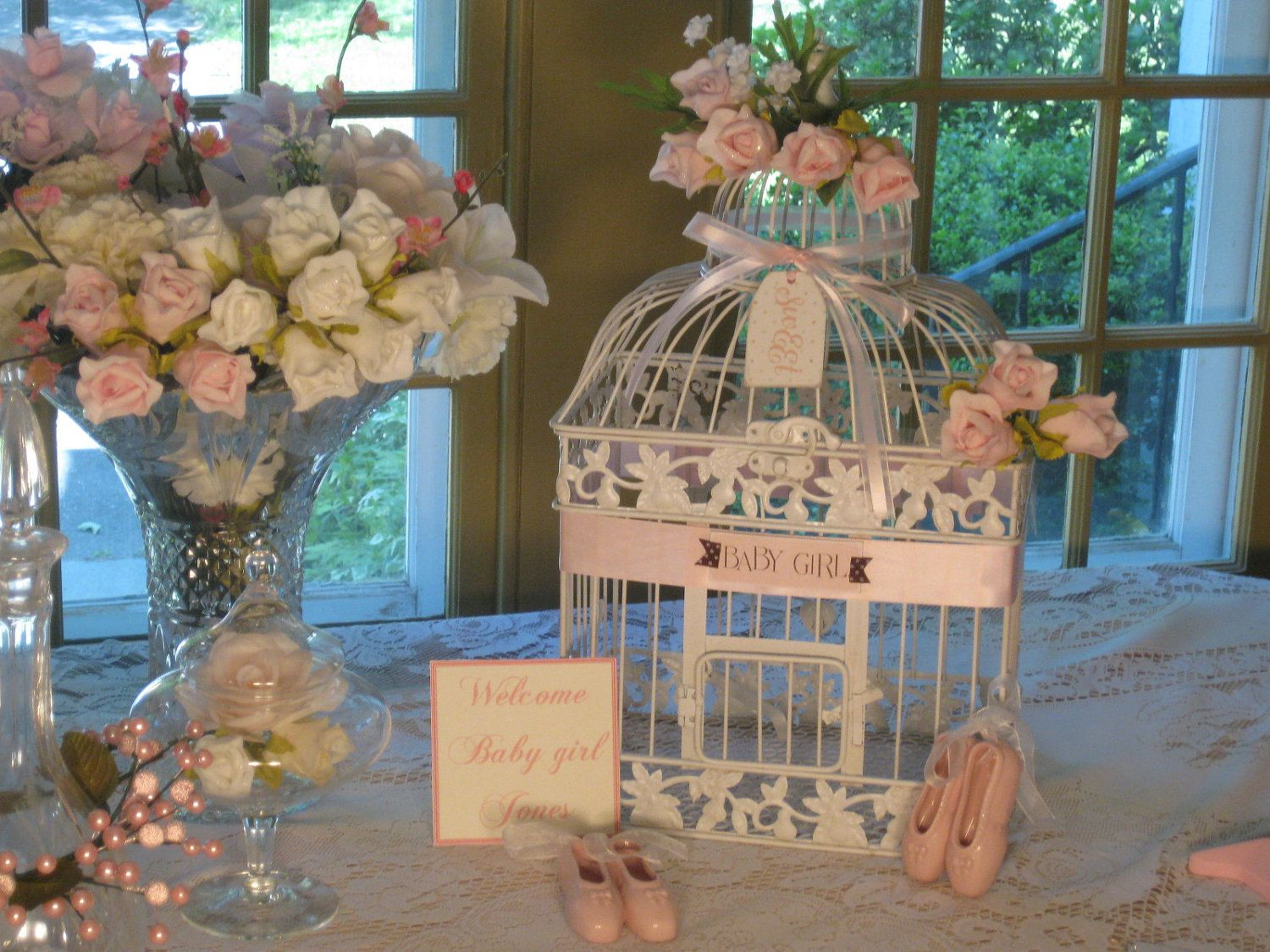 Beautiful Antique White Bird Cage Large Baby Shower Card Holder
