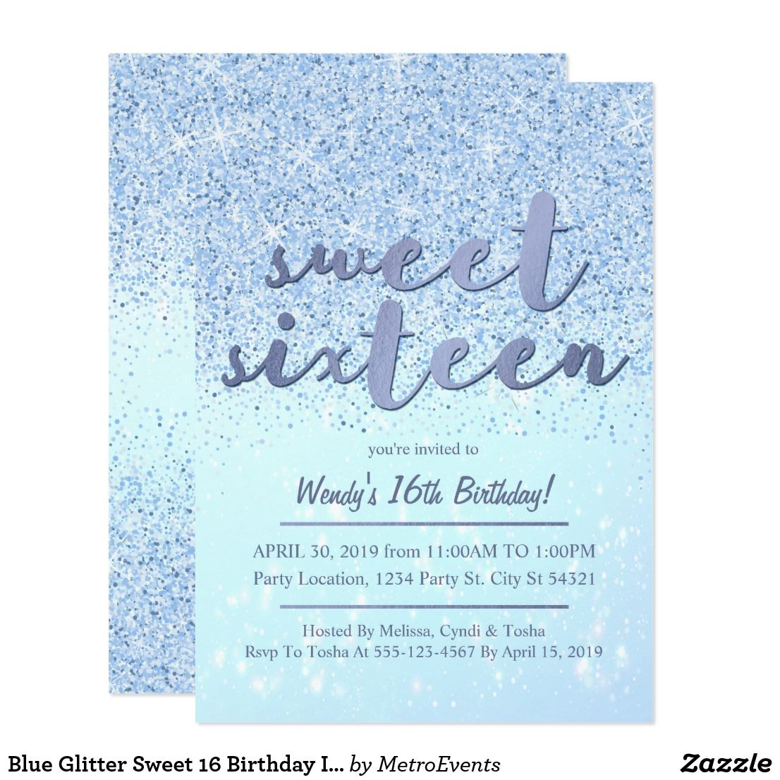 Blue Glitter Sweet 16 Birthday Invitations | Sweet 16 birthday ...