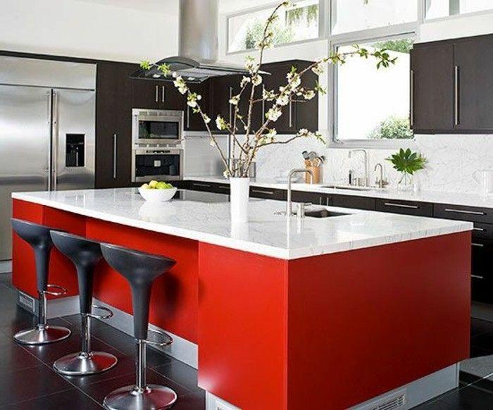 Marmor Arbeitsplatte rot und hocker Moderne Küchen Pinterest - arbeitsplatte holz küche