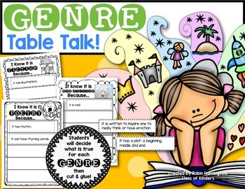 Genre Table Talk! You are receiving printables/worksheets to help students identify the characteristics of 7 different genres: Fiction, Non Fiction, Realistic Fiction, Poetry/Poems, Fantasy, Biographies Folktale. Great for First Grade Reading Workshop! $