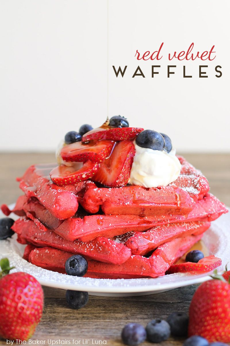 Red Velvet Waffles - so delicious and especially perfect for any special occasion. Recipe on { lilluna.com }.