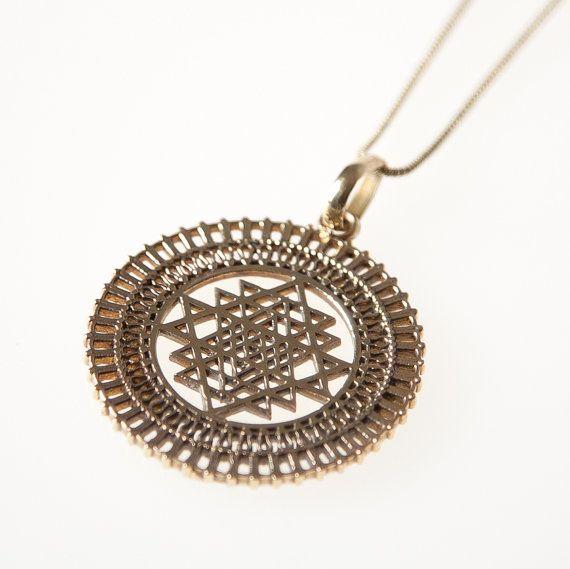 Sri yantra brass pendant necklace sacred geometry brass pendant 20off sri yantra brass pendant necklace sacred geometry brass pendant brass jewellery indian jewellery gypsy jewelleryboho jewellery aloadofball Images