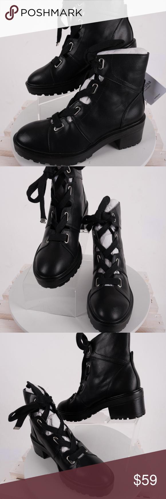625abb5d3d7 Bershka Zara Combat Boots Lace Up Openwork eyelet Bershka Zara ...