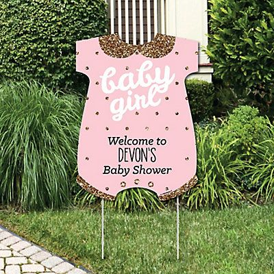 hello little one pink and gold party decorations its a girl baby shower personalized welcome yard sign bigdotofhappinesscom