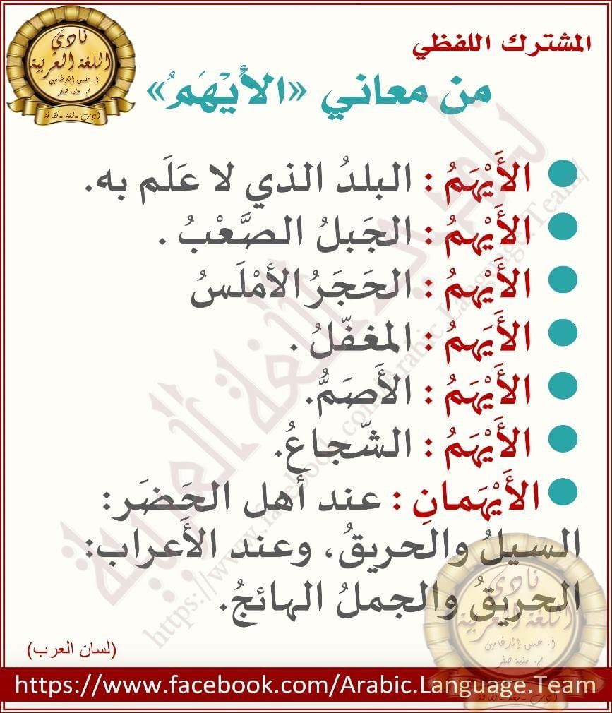 المشترك اللفظي Arabic Books Arabic Lessons Teach Arabic