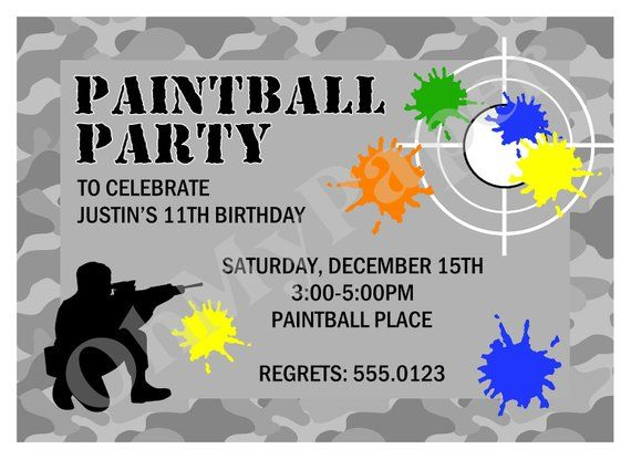 Paintball Party Invitations In 2019