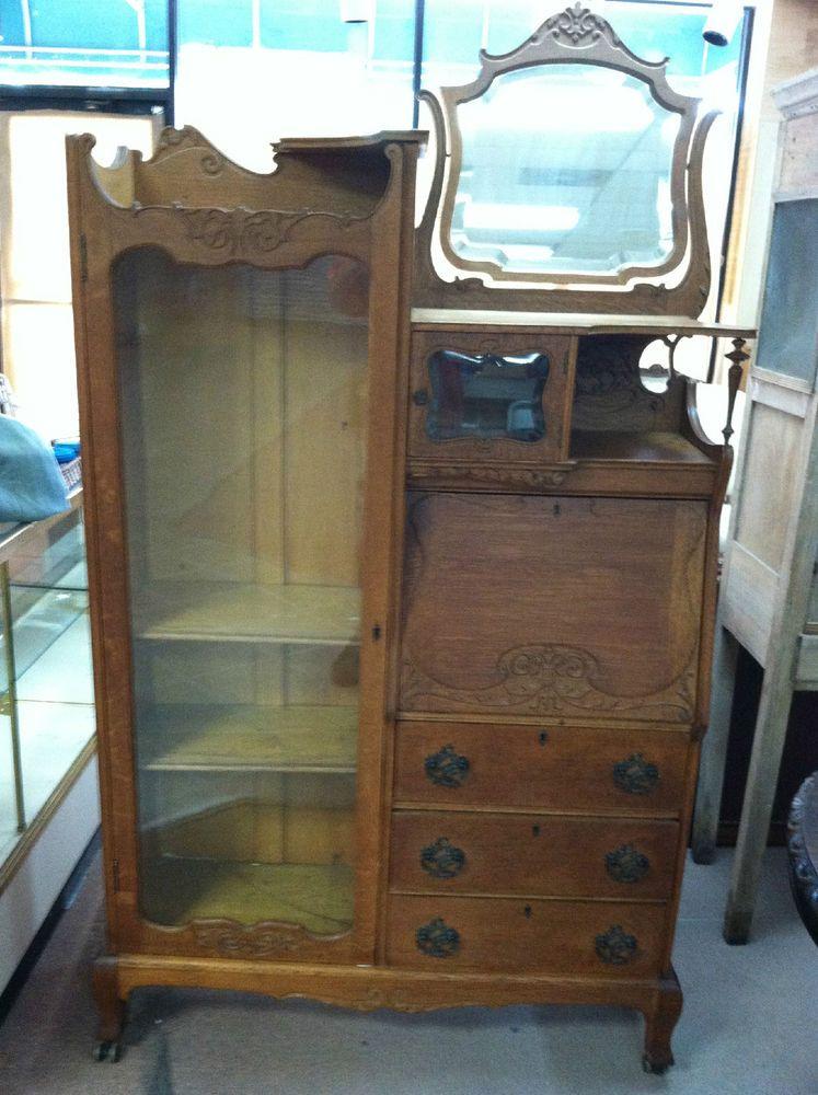 Gorgeous Antique Side By Secretary Bookcase Golden Oak Larkin Desk Ca 1900