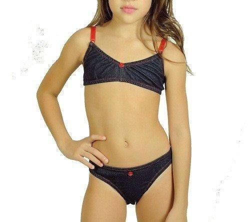 12e3c763f8fe0 Conjunto Jeans - Lindo conjunto menina moça sem bojo