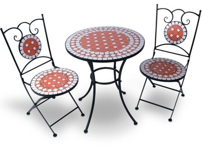 Garden Table Set 2 Folding Chairs Set Mosaic Red Small Bistro