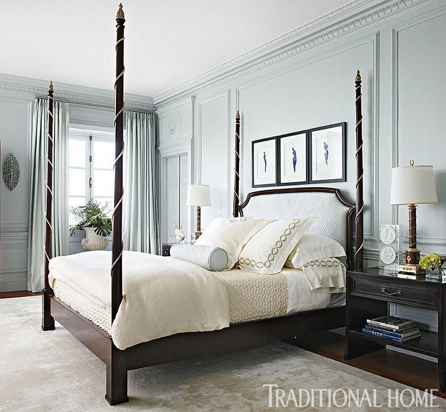 Bedroom Design A Stately Four Poster Bed With A Quilted Headboard