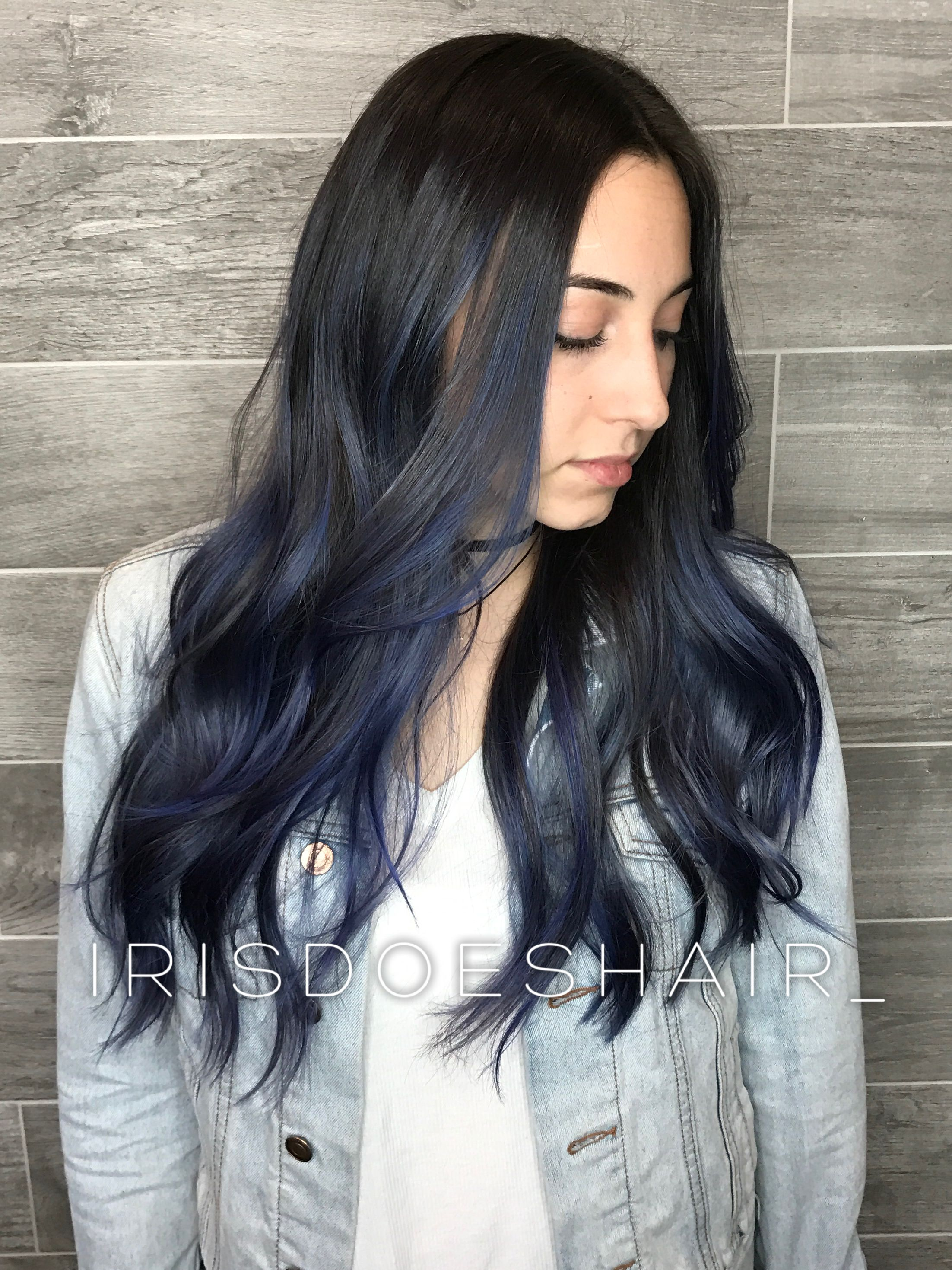 Long Blue Balayage Hair Balayage Hair Hair Styles Hair Color Blue