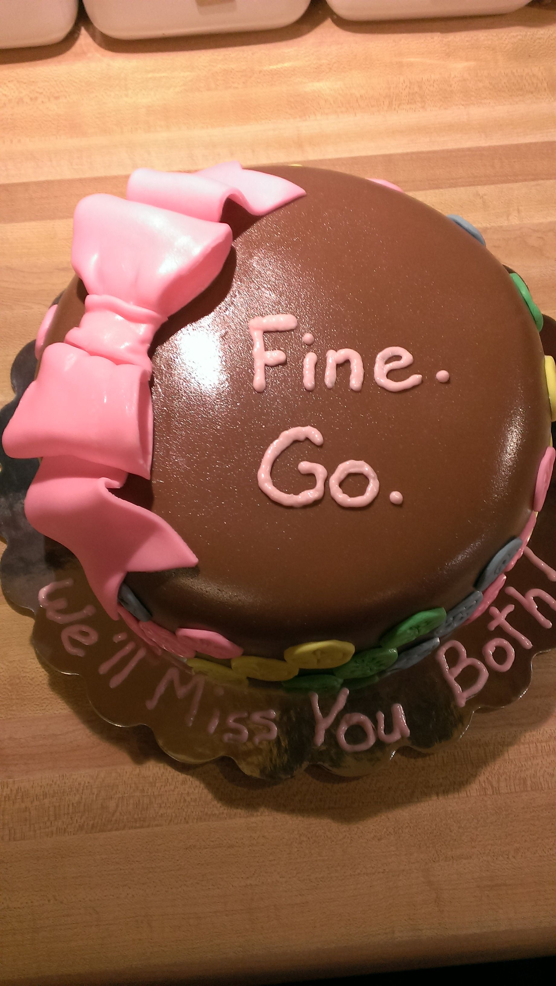 Goodbye Cake Images : I made this little farewell cake for a couple of lovely co ...