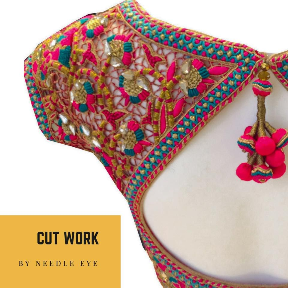 Saree blouse design cutting and stitching the most favourite cut work design love the bright colours used in