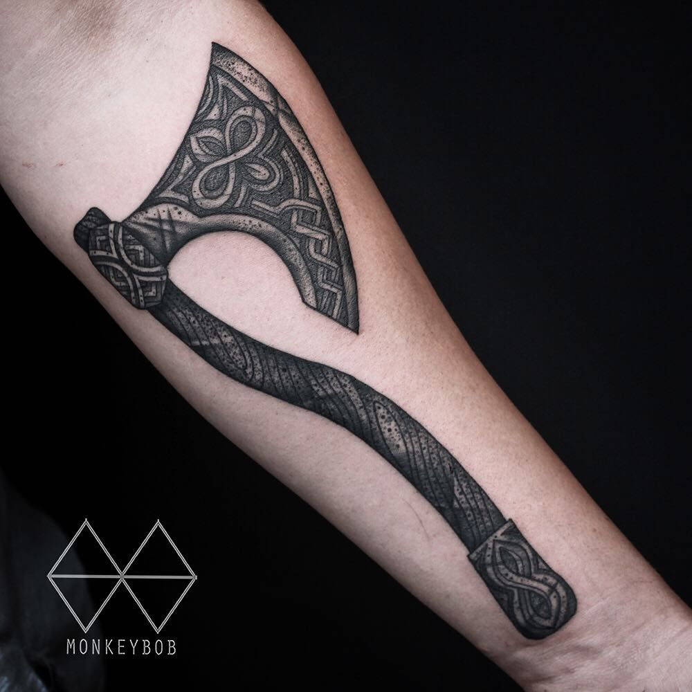 Black And Grey Celtic Ax Tattoo By Monkey Bob Best