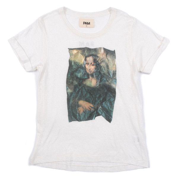 Perks & Mini PAM Moana Rox Tee - Off White (795 ARS) ❤ liked on Polyvore featuring tops, t-shirts, shirts, short sleeves, pattern shirt, print t shirts, roll sleeve shirt, tee-shirt and champagne shirt