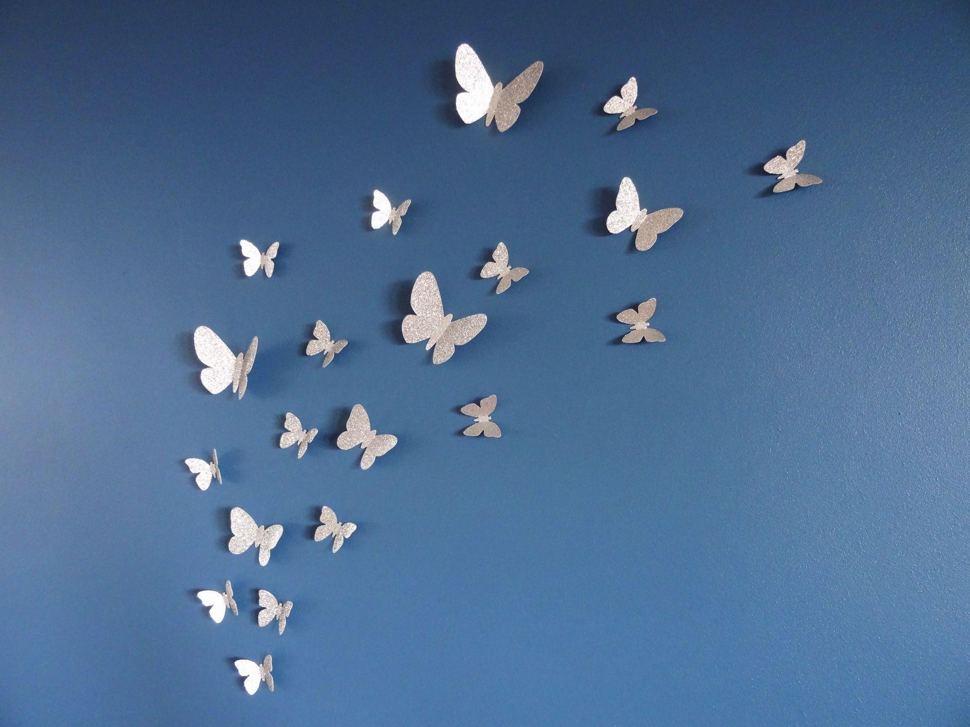 Lot De 20 Papillons 3d Argente Paillette Pour Decoration Murale