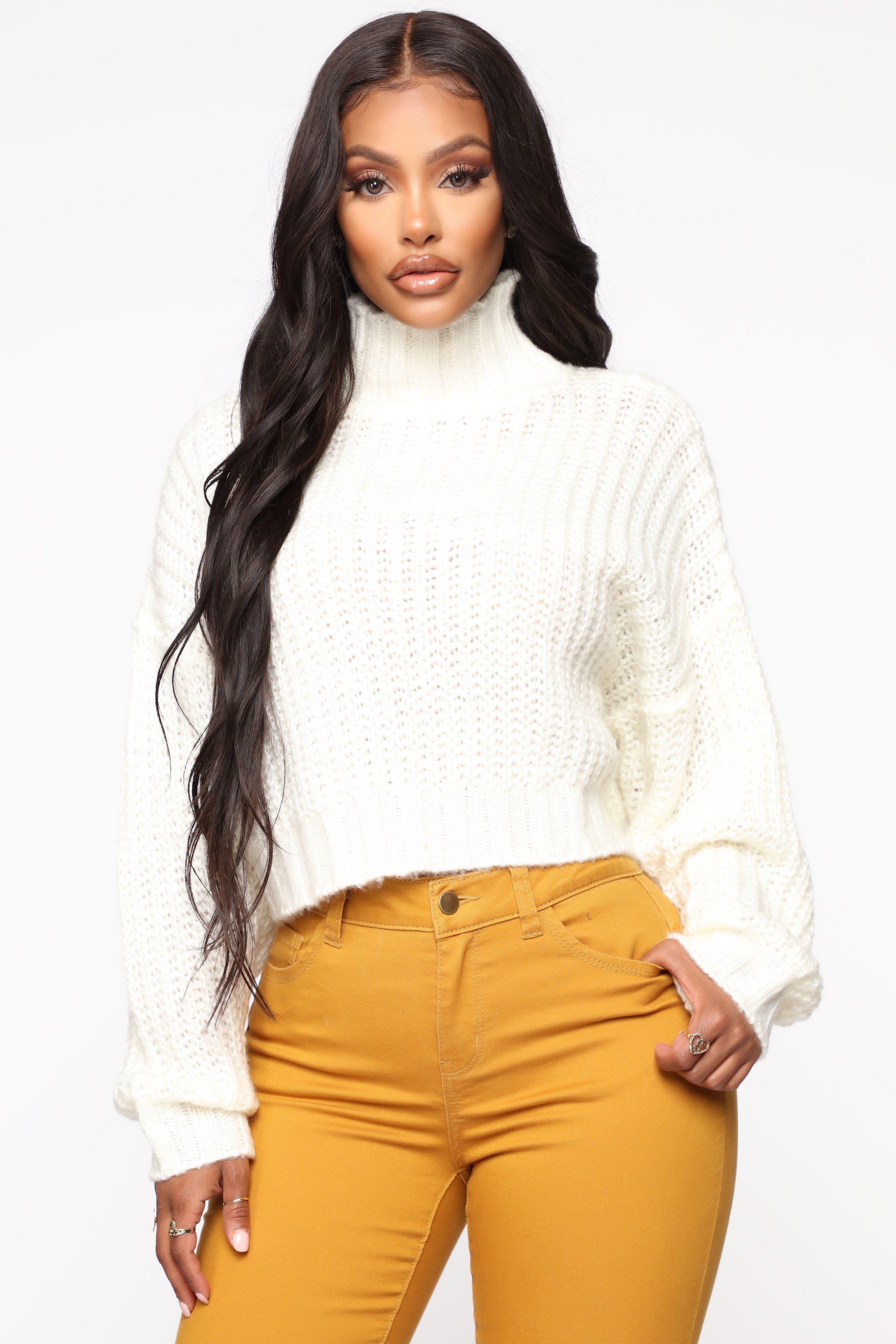 When I Get Home Turtle Neck Sweater White Fashion nova