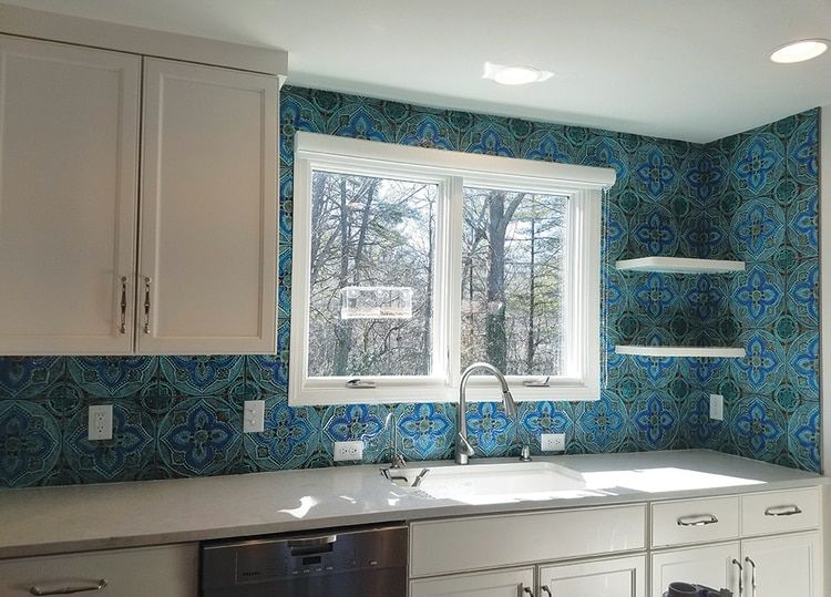 Handmade Tiles Kitchen Backsplash Mandala 5 Turquoise In 2020