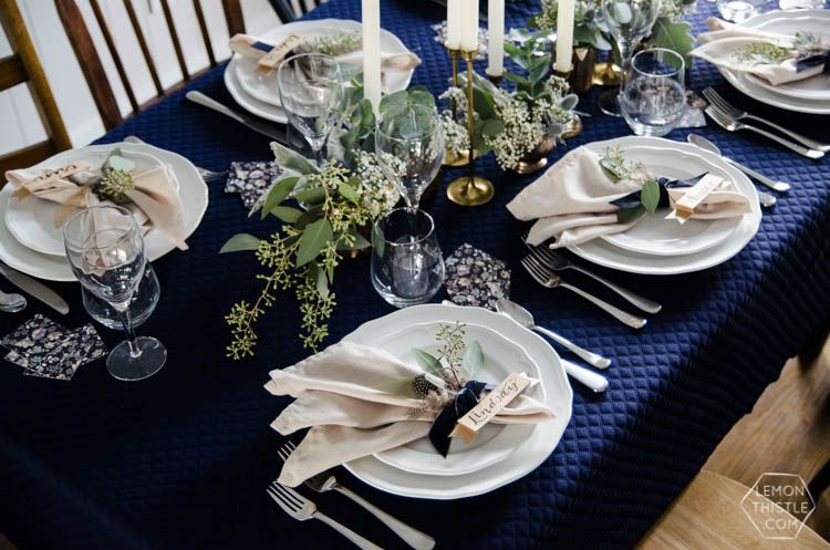 Navy And Neutrals Dinner Party Lemon Thistle Dinner Party Table Settings Dinner Party Table Dinner Party Tablescapes