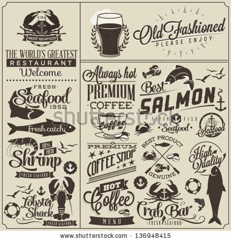Collection Of Retro Vintage Style Restaurant Menu Designs Set Of Calligraphic Titles And Symbols For Restaurant Design Hand Lettering Typographic Me Menyu Idei