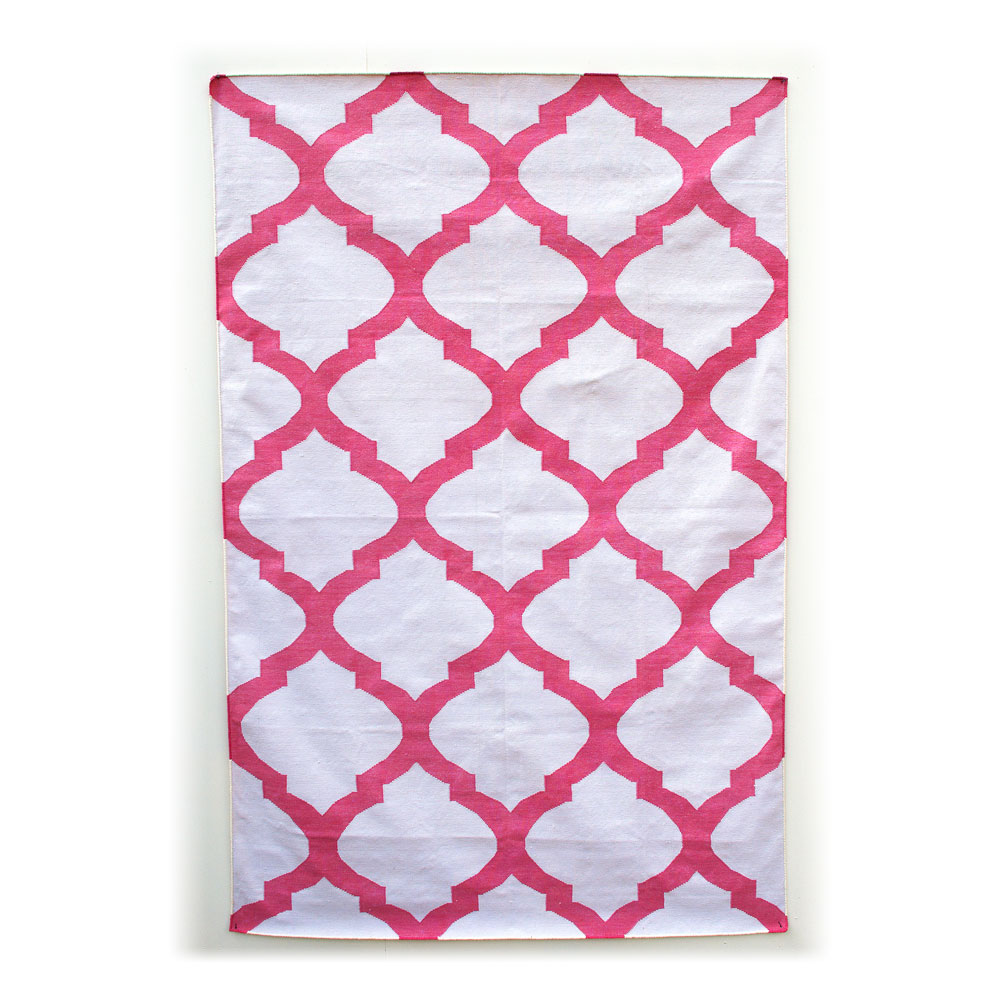 Bright Pink And Off White Mughal Lattice Jali Patterned