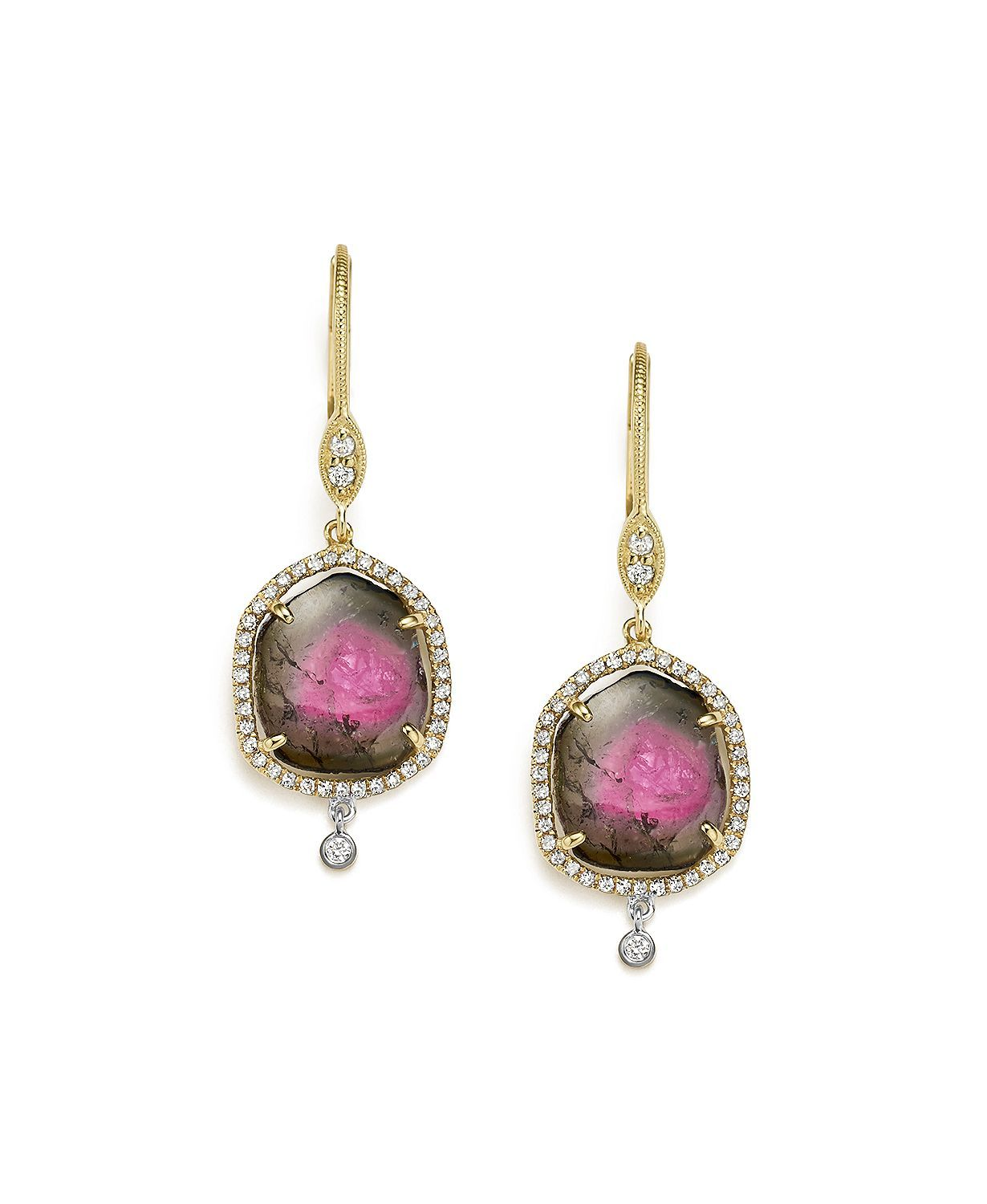 0f70f836e Meira T 14K White and Yellow Gold Diamond and Watermelon Tourmaline Drop  Earrings | Bloomingdales's