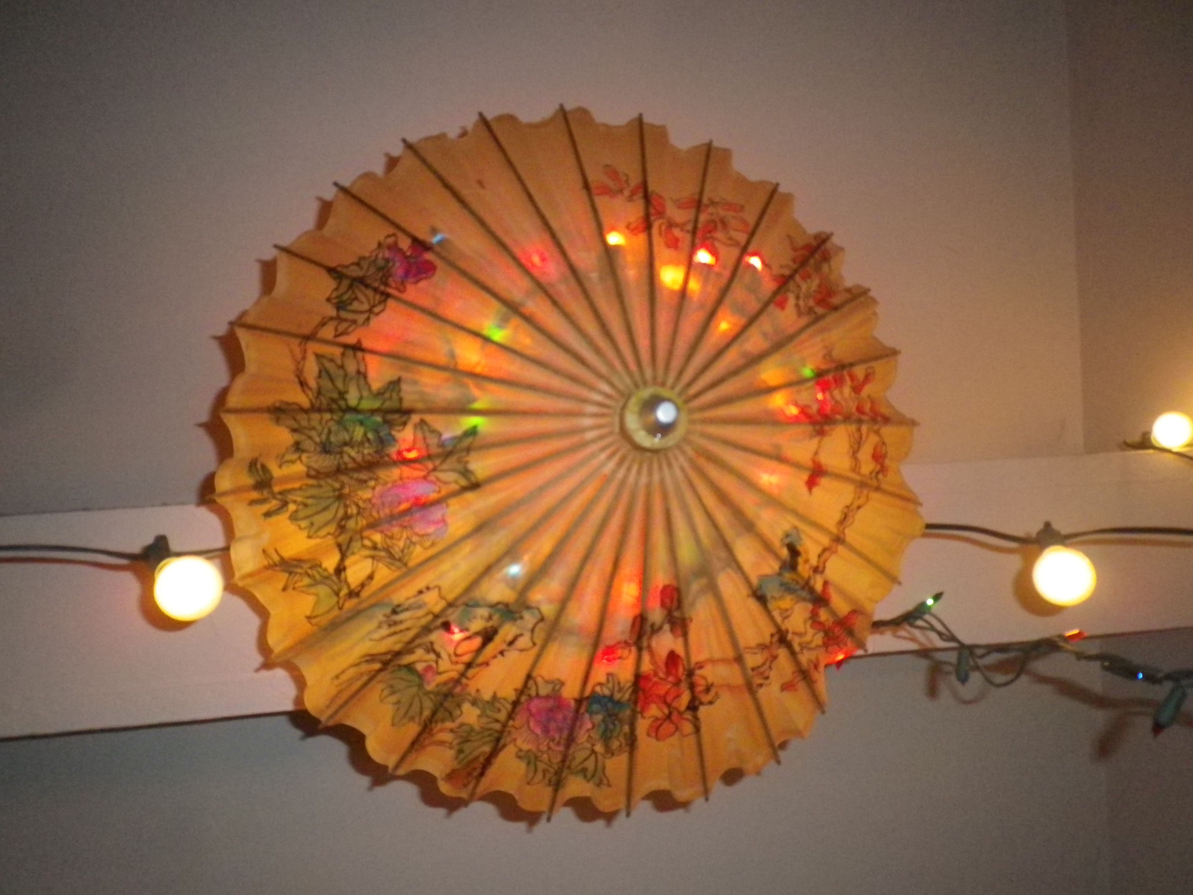 Japanese parasol light bamboo home decor lighting for Home decor made from recycled materials