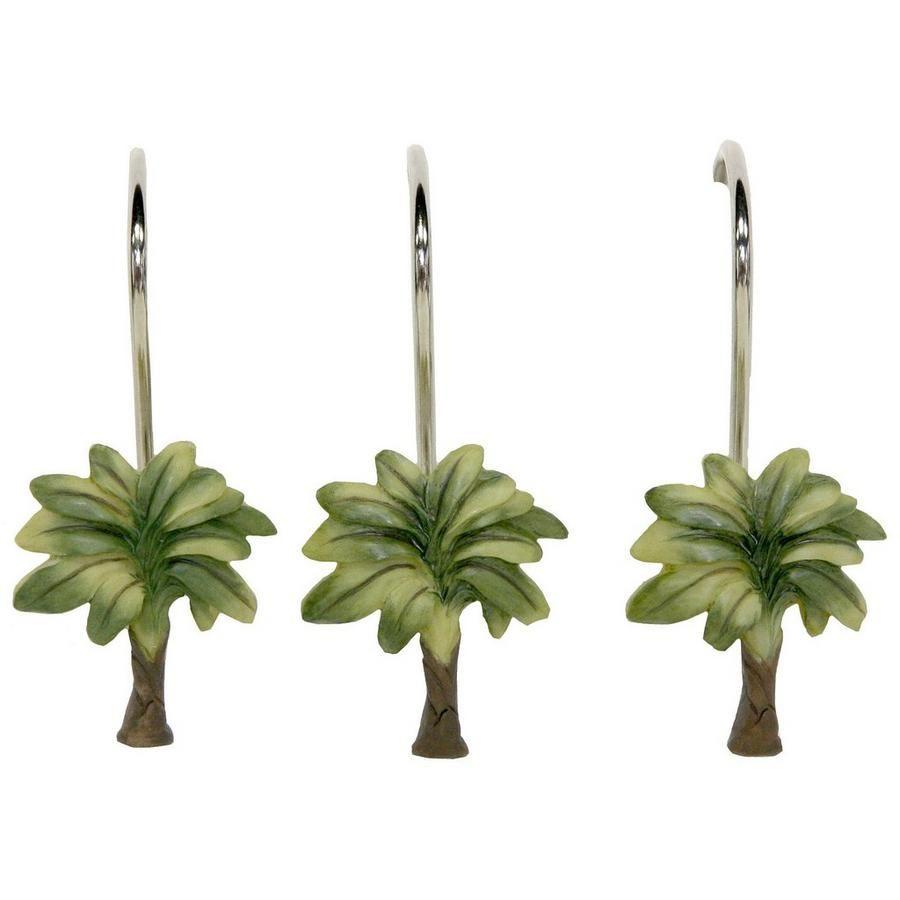 Bacova 12pc citrus palm shower curtain hooks tropical