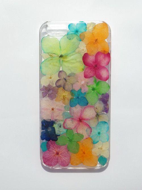 Handmade phone case, Pressed flowers phone case, colorful flowers via Annysworkshop