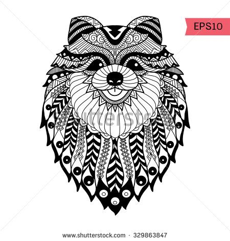 Hand drawn zentangle Pom dog background for coloring page ...